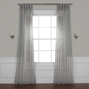 Dot Grey Patterned Linen Sheer Curtain Single Panel