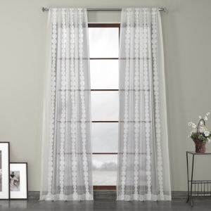 White Embroidered Sheer Curtain Single Panel