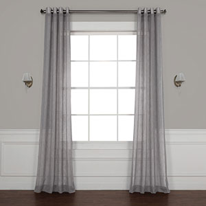 Gravel Grey 120 x 50-Inch Grommet Solid Faux Linen Sheer Curtain Single Panel