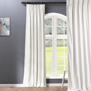 Signature Off White 25 x 108-Inch Signature French Pleated Blackout Velvet Curtain