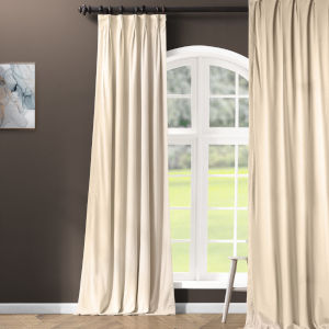 Signature Ivory 25 x 84-Inch Signature French Pleated Blackout Velvet Curtain