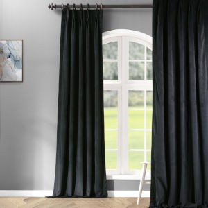 Signature Warm Black 25 x 96-Inch Signature French Pleated Blackout Velvet Curtain