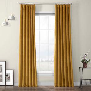 Retro Gold Heritage Plush Velvet Curtain Single Panel