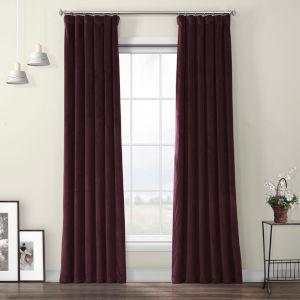 Red Heritage Plush Velvet Curtain Single Panel