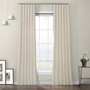 Ivory Heritage Plush Velvet Curtain Single Panel