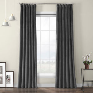 Pepper Grey Heritage Plush Velvet Curtain Single Panel