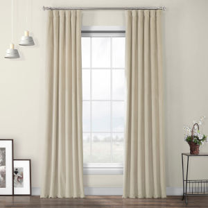 Beige Heritage Plush Velvet Curtain Single Panel