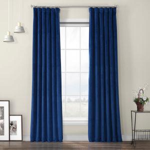 Blue Heritage Plush Velvet Curtain Single Panel