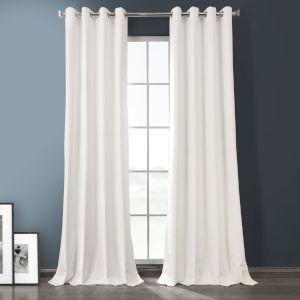 Warm White 120-Inch Plush Velvet Hotel Blackout Grommet Curtain Single Panel