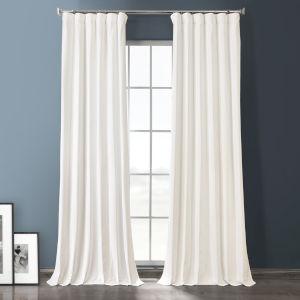 Warm White 84-Inch Plush Velvet Hotel Blackout Curtain Single Panel