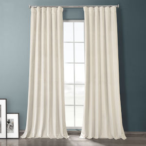 Sandalwood Beige 108-Inch Plush Velvet Hotel Blackout Curtain Single Panel