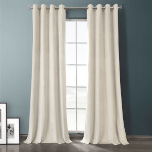Sandalwood Beige 84-Inch Plush Velvet Hotel Blackout Grommet Curtain Single Panel