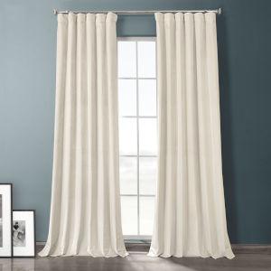 Sandalwood Beige 84-Inch Plush Velvet Hotel Blackout Curtain Single Panel