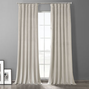 Silvery Taupe 108-Inch Plush Velvet Hotel Blackout Curtain Single Panel
