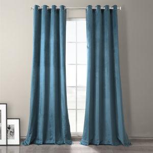 Caspian Blue 120-Inch Plush Velvet Hotel Blackout Grommet Curtain Single Panel