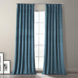 Caspian Blue 84-Inch Plush Velvet Hotel Blackout Curtain Single Panel