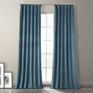 Caspian Blue 96-Inch Plush Velvet Hotel Blackout Curtain Single Panel