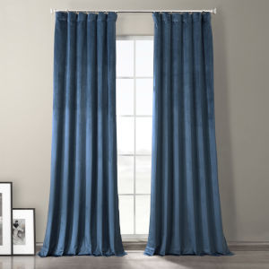 Baroness Blue 96-Inch Plush Velvet Hotel Blackout Curtain Single Panel