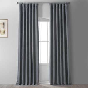 Signature Global Grey 50 in W x 96 in H Faux Linen Blackout Single Panel Curtain