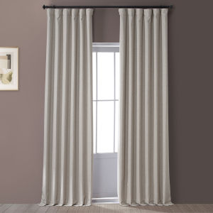 Signature Safari Tan 50 in W x 96 in H Faux Linen Blackout Single Panel Curtain