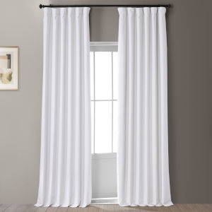 Signature Mission White 50 in W x 84 in H Faux Linen Blackout Single Panel Curtain