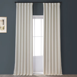 Signature Excursion Ivory 50 in W x 84 in H Faux Linen Blackout Single Panel Curtain