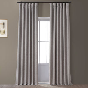 Signature Destination Slate 50 in W x 96 in H Faux Linen Blackout Single Panel Curtain