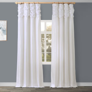 Ruched Vintage White 96 x 50 Inch Faux Dupioni Silk Curtain Single Panel