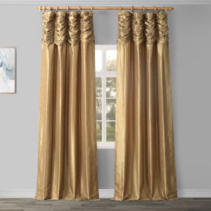 Ruched Vintage Gold 96 x 50 Inch Faux Dupioni Silk Curtain Single Panel