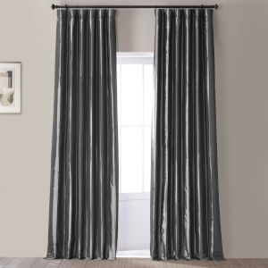 Signature Tablet Grey 50 in W x 96 in H Faux Silk Taffeta Hotel Blackout Single Panel Curtain