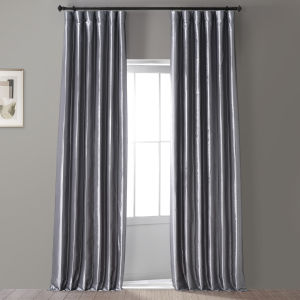 Signature Social Silver 50 in W x 96 in H Faux Silk Taffeta Hotel Blackout Single Panel Curtain