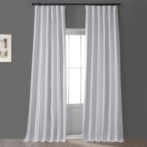 Signature Clever Cream 50 in W x 108 in H Faux Silk Taffeta Hotel Blackout Single Panel Curtain