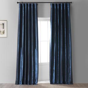 Signature Future Blue 50 in W x 108 in H Faux Silk Taffeta Hotel Blackout Single Panel Curtain