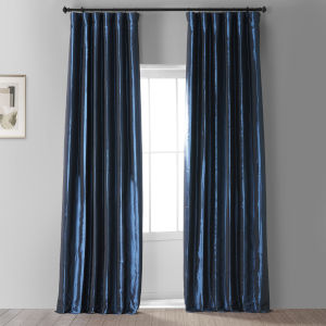 Signature Future Blue 50 in W x 96 in H Faux Silk Taffeta Hotel Blackout Single Panel Curtain