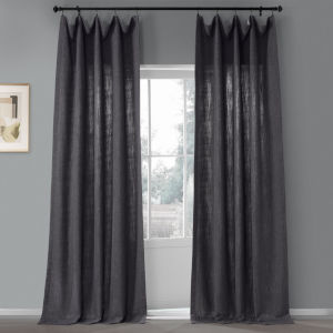 Nightshade Grey 50 in W x 96 in H Pebble Weave Faux Linen Single Panel Curtain