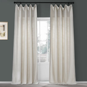 Country Cream 50 in W x 96 in H Pebble Weave Faux Linen Single Panel Curtain
