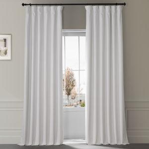Signature Misty White 50 in W x 84 in H Plush Velvet Hotel Blackout Single Panel Curtain