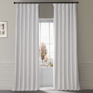 Signature Misty White 50 in W x 96 in H Plush Velvet Hotel Blackout Single Panel Curtain