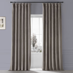 Signature Library Taupe 50 in W x 96 in H Plush Velvet Hotel Blackout Single Panel Curtain
