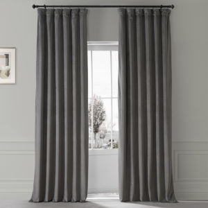 Signature Nightlife Grey 50 in W x 84 in H Plush Velvet Hotel Blackout Single Panel Curtain