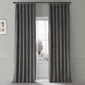 Signature Nightlife Grey 50 in W x 96 in H Plush Velvet Hotel Blackout Single Panel Curtain