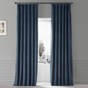 Signature Varsity Blue 50 in W x 108 in H Plush Velvet Hotel Blackout Single Panel Curtain