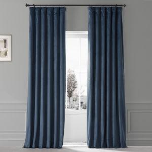 Signature Varsity Blue 50 in W x 96 in H Plush Velvet Hotel Blackout Single Panel Curtain
