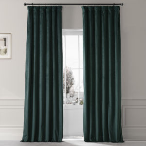Signature Spirit Green 50 in W x 96 in H Plush Velvet Hotel Blackout Single Panel Curtain