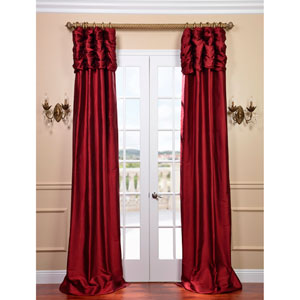 Ruched Bold Red 120 x 50-Inch Thai Silk Curtain Single Panel