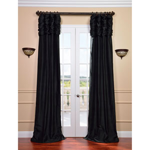 Ruched Midnight Black 108 x 50-Inch Thai Silk Curtain Single Panel