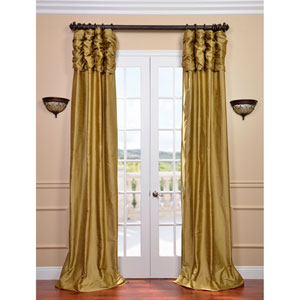 Ruched Gold Dust 120 x 50-Inch Thai Silk Curtain Single Panel
