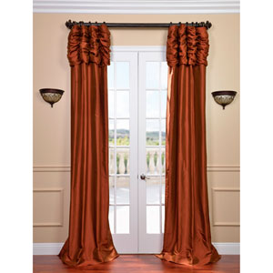 Ruched Cayenne 120 x 50-Inch Thai Silk Curtain Single Panel