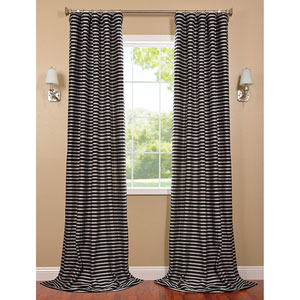 Black and Silver 108 x 50-Inch Casual Cotton Curtain Single Panel
