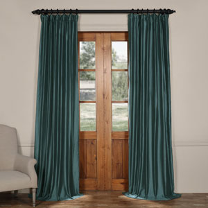 Tapestry Teal 84 x 50-Inch Cotton Silk Curtain